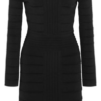 Balmain - Off-the-shoulder ribbed stretch-knit mini dress