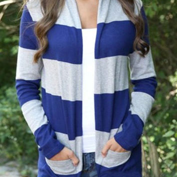 Color Block Broad Striped Long Sleeve Cardigan