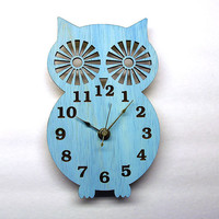 Wall Clock  Modern Wooden Owl Silhouette Home Decor  with by Klokx