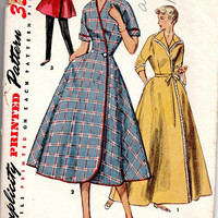 Simplicity 1950s Sewing Pattern 4474 Lounge Coat Housedress Swing Dress Wrap Front Full Skirt Bust 32