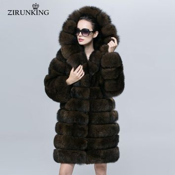 Women Warm Fur Coat Female Hooded Fashion Real Blue Fox Fur Outerwear Woman Detachable Clothes