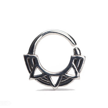 Triangles Septum Ring Nose Ring Body Jewelry Sterling Silver Bohemian Fashion Indian Style 14g 16g - SE037R SS