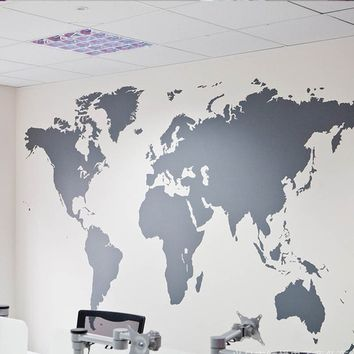 Creative Waterproof World Map Mural Removable Vinyl Quote Decal Wall