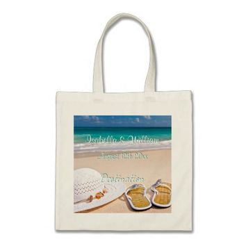 Turquoise Summer Beach Wedding Favour Tote Bag