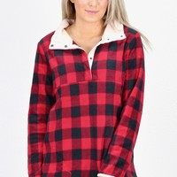 3/4 Snap Buffalo Plaid Fleece Pullover {Red}