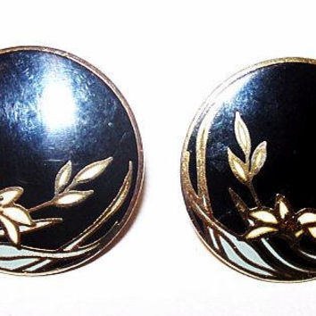 "Laurel Burch Black Gold Enamel Earrings Signed ""Wind Flower"" Post Backs Pierced Ears Gold Metal  7/8"" Vintage"