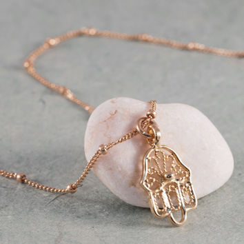 Gold Filigree Hamsa Pendant on a Satellite Chain // Small, Delicate, Gold Vermeil Hamsa Necklace // Gold Filled Saturn Chain // Jewelry by S