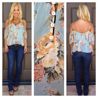 Keydence Floral Print Off Shoulder Top