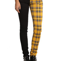 Royal Bones Split Leg Yellow Plaid Skinny Jeans