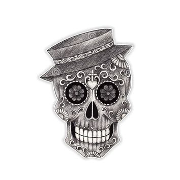 14.2CM*10.2CM Car Sticker Sugar Skull Day Of The Dead Reflective Decal