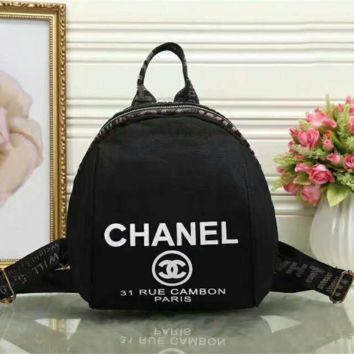 Chanel  Women Casual Shoulder School Bag Cowhide Leather Backpack G-LLBPFSH