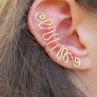 Pink Beaded Gold Wire Ear Cuff by TheHempChick on Etsy