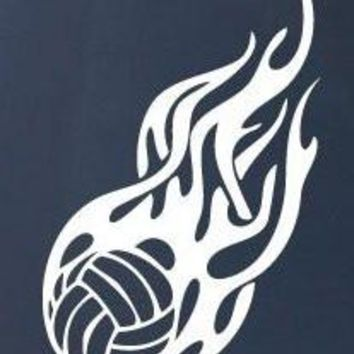 FLAMING VOLLEYBALL Logo Vinyl Sticker Decal Car Truck Windon Wall Laptop notebook