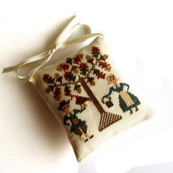 Thanksgiving decor, Аutumn primitive decorative pillow, thanksgiving family gift, Completed cross stitch, light brown wood tree