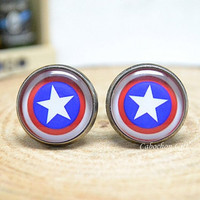Cufflink Captain America Cuff links Accessories for men Superheroes jewelry blue red white (CL17)