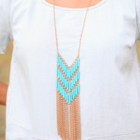 Heading West Necklace  - Gold and Turquoise
