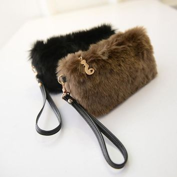 Fashion Plush Fur Women Wallets Zipper Mim Purses Handbags Faux Fur Wedding Party