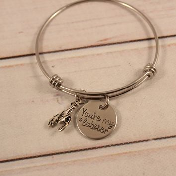 """You're my lobster"" Adjustable Bangle Bracelet - ready to ship!"