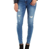 Med Wash Denim Destroyed & Faded Skinny Jeans by Charlotte Russe