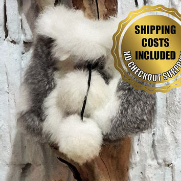 Shoulder Bag/Pouch - 100% Naturel Genuine Rabbit Fur