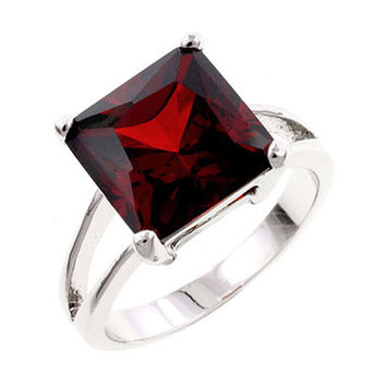 The Garnet Candy CZ Solitaire Ring