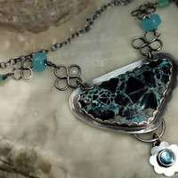 Silver Necklace of Turquoise and Topaz by madstarsilver on Etsy