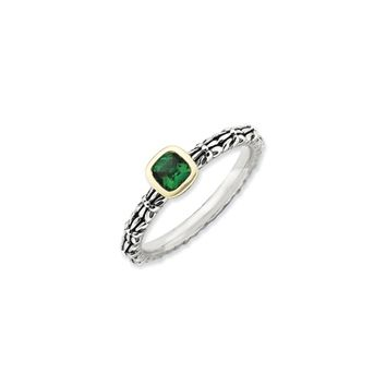 Stackable Sterling Silver & 14K Gold Plated Created Emerald Ring