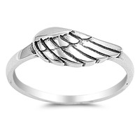 925 Sterling Silver Single Wing Ring 6MM