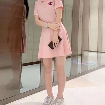 """""""Champion"""" Woman's Leisure  Fashion Embroidery Letter Printing lapel  Short Sleeve  Shorts Tops Skirt"""