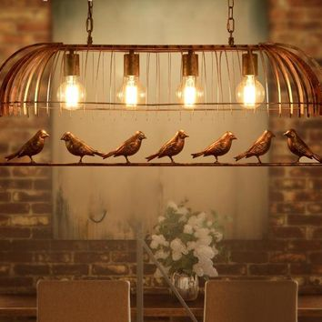 European Iron Birds on a Wire, Stunning Pendant Light, Charmed by Nature Multiple Designs, Iron Chandeliers