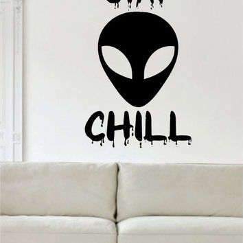 Alien Stay Chill Design Outer Space Decal Sticker Wall Vinyl Art Home Room Decor
