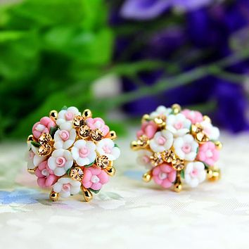 Luxury crystal double imitation stud earrings for women Ceramic flowers earrings for