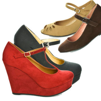 Mary-Jane Platform Wedge Dress Pump Round Close Toe Women New Shoe Size