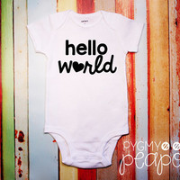 "Birth Announcement ""Hello World"" Newborn New Baby Bodysuit - Baby Shower Gift - Coming Home Outfit - White with Black"