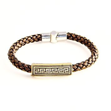 Best Seller - Greek Key Charm on Italian Style Brown Leather Braided Bracelet