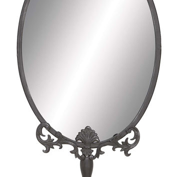 Unique Metal Wall Mirror With Intricate Carved Accents