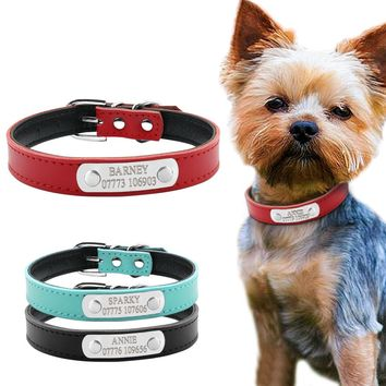 Leather Personalized Dog Collars Custom Cat Pet Name