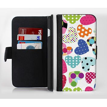 The Colorful Polkadot Hearts Ink-Fuzed Leather Folding Wallet Credit-Card Case for the Apple iPhone 6/6s, 6/6s Plus, 5/5s and 5c