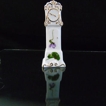 Grandfather Clock Decorative Floral Miniature Handpainted Violets Hammersley English Fine Bone China
