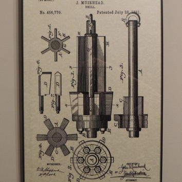 Drill Tool Patent 1891 Wall Art Poster