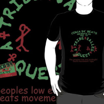A TRIBE CALLED QUEST *ATCQ Q-TIP Rap Hip Hop logo custom black t-shirt