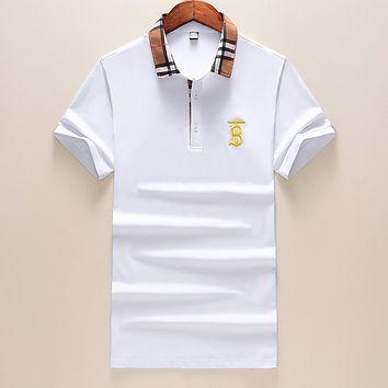 BURBERRY Summer Popular Casual Embroidery T-Shirt Top White