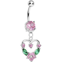 Pale Pink Gem Heart Wreath Belly Ring