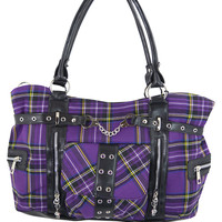 Banned Alternative Apparel Purple Tartan Plaid Punk Purse with Handcuff Skull Charm