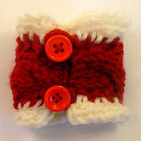 Red Knit Bracelet, cable knitted Cuff, knit Jewelry, knit Bracelet, cable Wrist cuff, Hand knit Cuff,  Girls bracelet, Teen Knits
