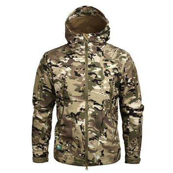 Camouflage Military Men Hooded Jacket Sharkskin Soft shell US Army Tactical Coat Multi camo Woodland