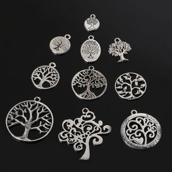 Vintage 61pcs random Mixed antique Silver Plated tree Charms Pendant Jewelry findings for DIY Handmade fashion Jewellery