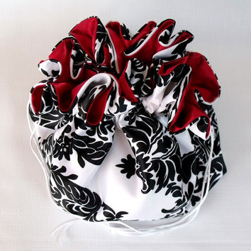 Wedding Money Bag, Satin Bridal Purse, Damask and Red, No Pockets, Super Sized