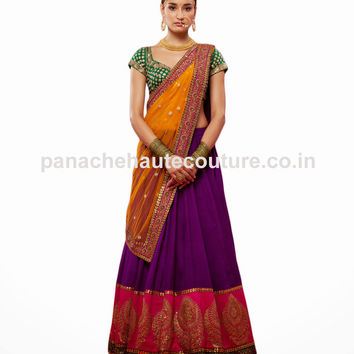 Sabyasachi Purple color Wedding Lehenga