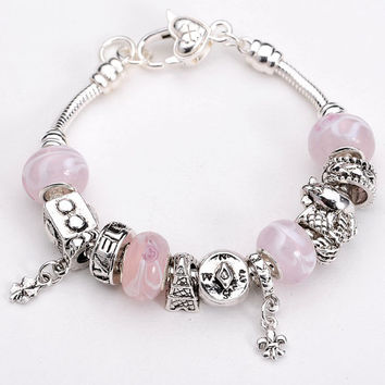Pink and White Pandora Bracelet-.925 Sterling Silver Bracelet- Fashion Jewelry- Fashion Bracelet-European Charm Beads-Glass Charms